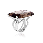 TRANSPARENZA Ring - Smoky Quartz / SS