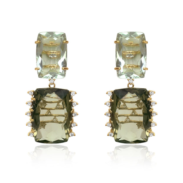 TRANSPARENZA Earrings - Prasiolite, Olive Quartz / YG