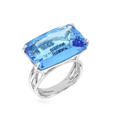 TRANSPARENZA Ring - Blue Topaz / SS