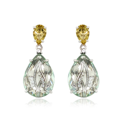 TRANSPARENZA Earrings - Prasiolite, Olive Quartz / SS
