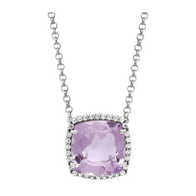 DEUX Necklace (1145) - Pink Amethyst /  SS