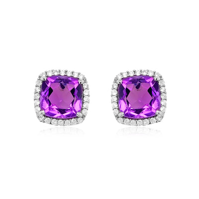 DEUX Earrings Amethyst /  SS