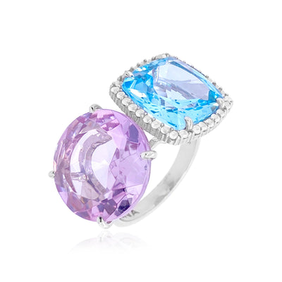 DEUX Ring (1145) - Pink Amethyst, Blue Topaz / SS