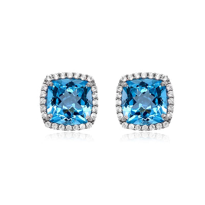 DEUX Earrings (1145) - Blue Topaz /  SS