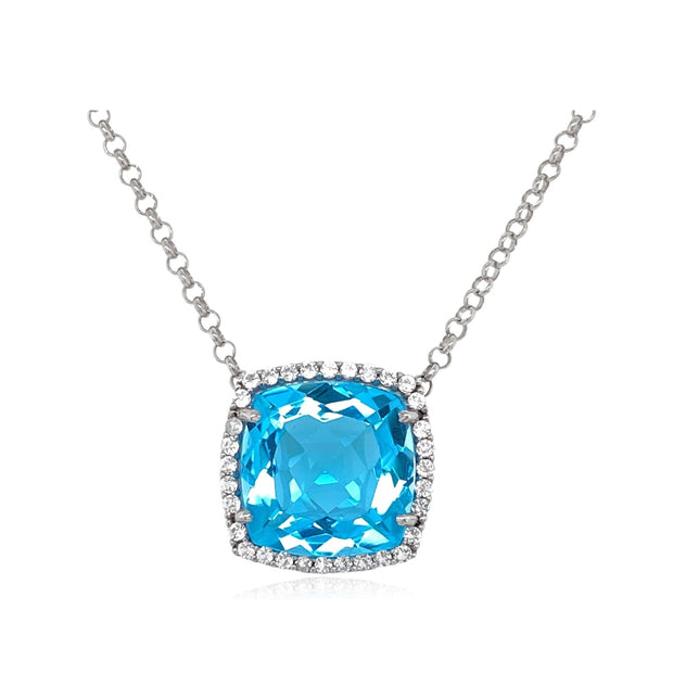 DEUX Necklace (1145) - Blue Topaz / SS