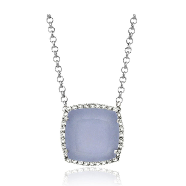 DEUX Necklace (1145) - Blue Chalcedony /  SS