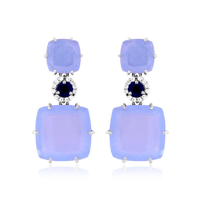 DEUX Earrings (1145) - Blue Chalcedony, Navy Blue Quartz / SS
