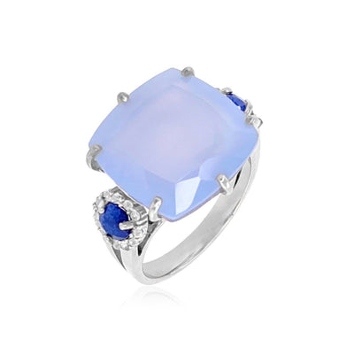 DEUX Ring (1145) - Navy Blue Quartz, Blue Chalcedony / SS