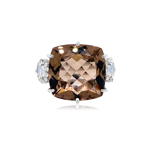 DEUX Ring (1145) - Smoky Quartz, Black Quartz / SS