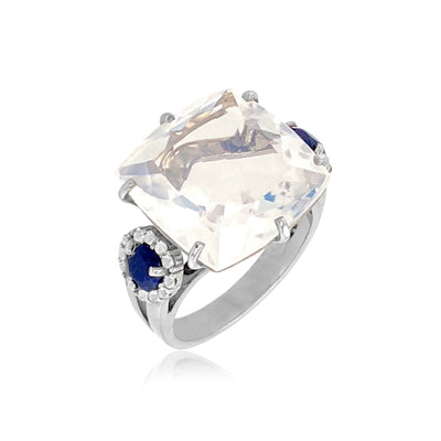 DEUX Ring (1145) - Opalescent Quartz, Navy Blue Quartz / SS