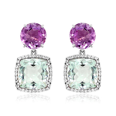 DEUX Earrings (1145) - Prasiolite, Pink Amethyst / SS