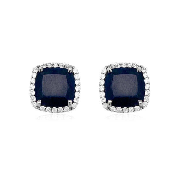 DEUX Earrings (1145) - Navy Blue Quartz /  SS