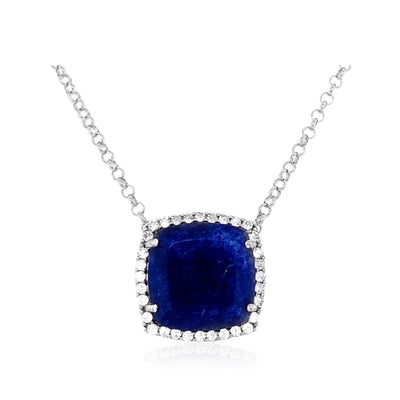 DEUX Necklace (1145) - Navy Blue Quartz / SS