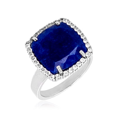 DEUX Ring (1145) - Navy Blue Quartz /  SS