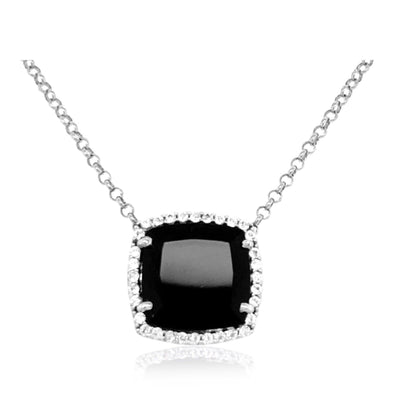 DEUX Necklace (1145) - Black Quartz / SS