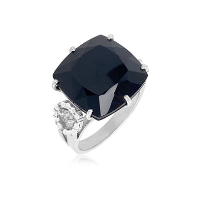 DEUX Ring (1145) - Black Quartz, Smoky Quartz / SS