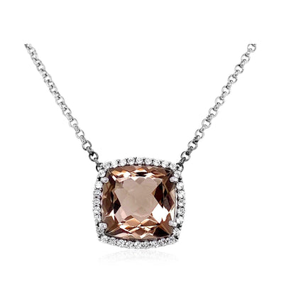 DEUX Necklace (1145) - Smoky Quartz / SS