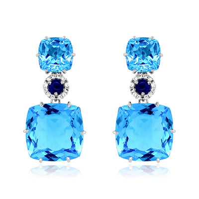 DEUX Earrings (1145) - Blue Topaz, Navy Blue Quartz / SS
