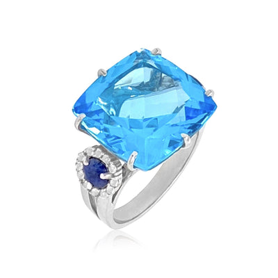 DEUX Ring (1145) - Blue Topaz, Navy Blue Quartz / SS
