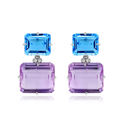 COLUNA Earrings - Blue Topaz, Pink Amethyst / SS