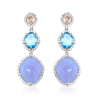 PANORAMA Earrings - Blue Topaz, Blue Chalcedony / SS