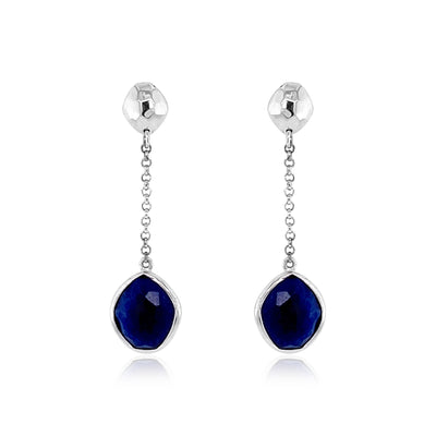 PANORAMA Earrings - Navy Blue Quartz / SS