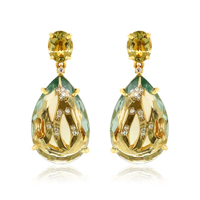 TRANSPARENZA Earrings - Olive Quartz, Prasiolite / YG