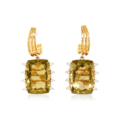 TRANSPARENZA Earrings - Olive Quartz / YG