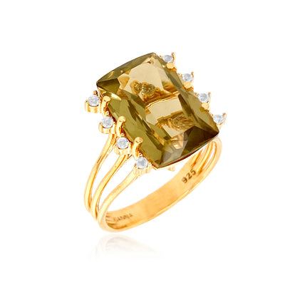 TRANSPARENZA Ring - Olive Quartz / YG