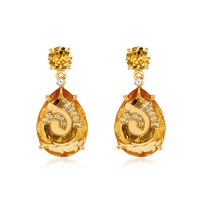 TRANSPARENZA Earrings - Citrine, Light Citrine / YG