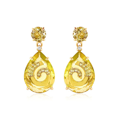 TRANSPARENZA Earrings - Lemon Citrine, Olive Quartz / YG