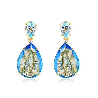 TRANSPARENZA Earrings - Blue Topaz / YG
