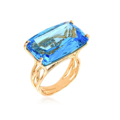 TRANSPARENZA Ring - Blue Topaz / YG
