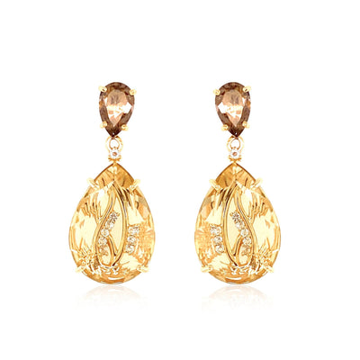 TRANSPARENZA Earrings - Light Citrine, Smoky Quartz / YG