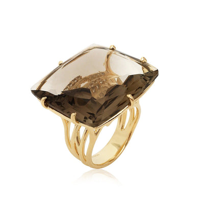 TRANSPARENZA Ring - Smoky Quartz / YG