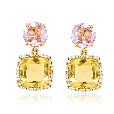 DEUX Earrings (1145) - Light Citrine, Pink Amethyst  / YG