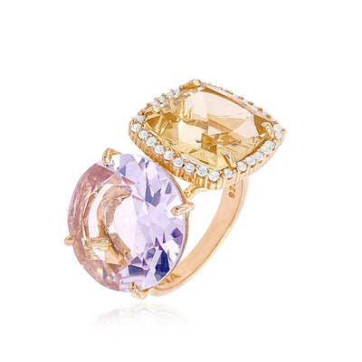 DEUX Ring (1145) - Pink Amethyst, Light Citrine / YG