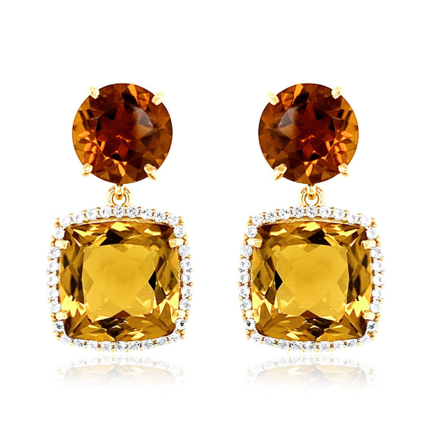 DEUX Earrings (1145) - Champagne Citrine, Whisky Citrine  / YG