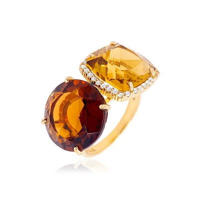 DEUX Ring (1145) - Champagne Citrine, Whisky Citrine / YG
