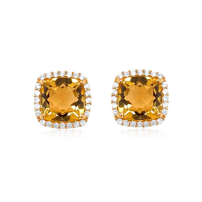 DEUX Earrings (1145) - Champagne Citrine / YG