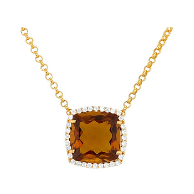 DEUX Necklace (1145) - Whisky Citrine /  YG