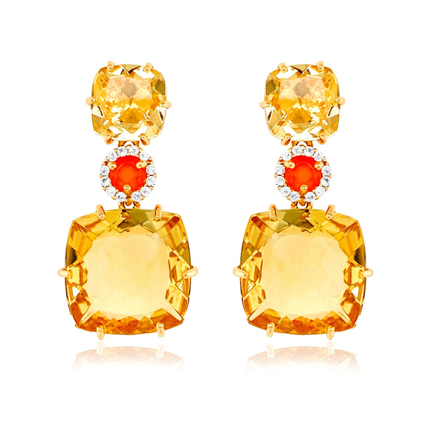 DEUX Earrings (1145) - Light Citrine, Orange Cornelian / YG