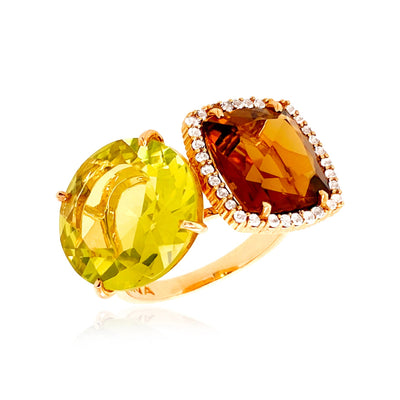 DEUX Ring (1145) - Lemon Citrine, Whisky Citrine / YG