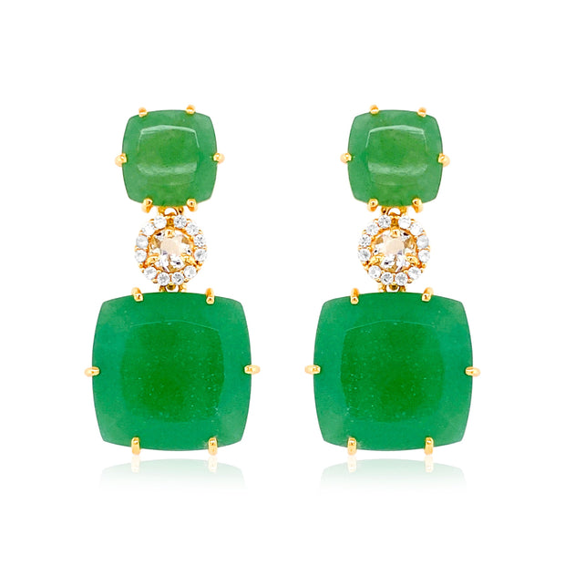 DEUX Earrings (1145) - Green Quartz, Prasiolite / YG