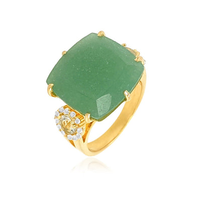 DEUX Ring (1145) - Green Quartz, Prasiolite / YG