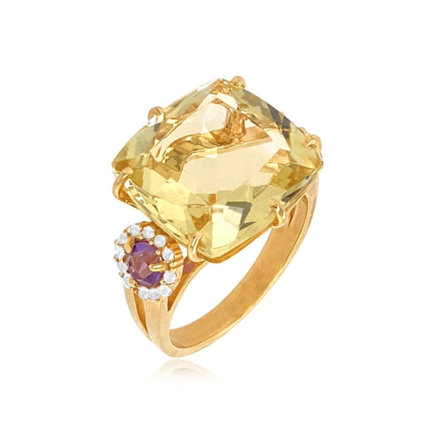 DEUX Ring (1145) - Light Citrine, Amethyst / YG