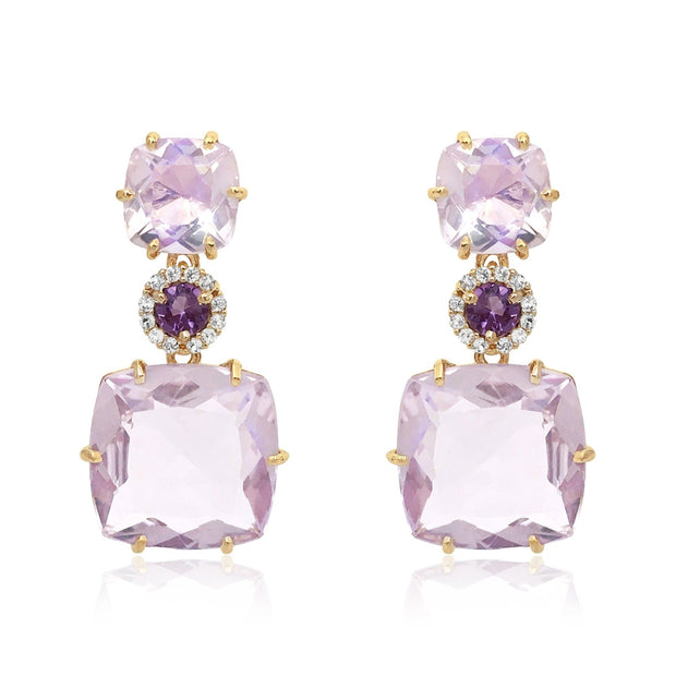 DEUX Earrings (1145) - Pink Amethyst, Amethyst  / YG