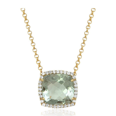 DEUX Necklace (1145) - Prasiolite / YG