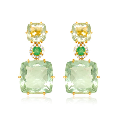 DEUX Earrings (1145) - Prasiolite, Green Quartz / YG