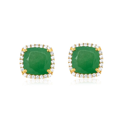 DEUX Earrings (1145) - Green Quartz / YG